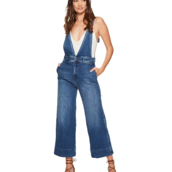 Free People A Line Overalls Medium Wash Size 0